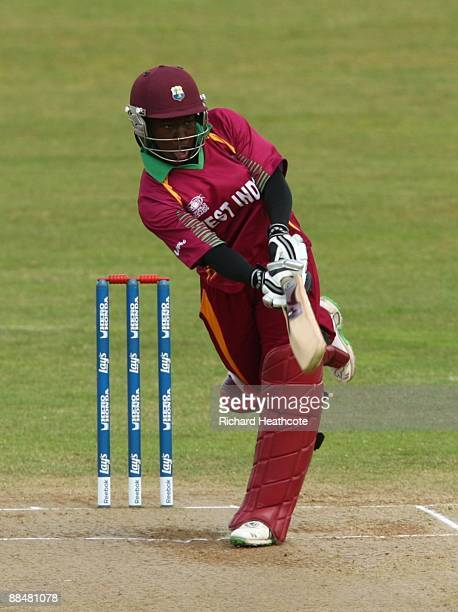 Stafanie Taylor of the West Indies hits out during the ICC Women's Twenty20 World Cup match between West Indies and Australia at The County Ground on...