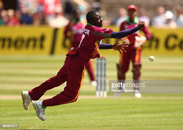 Stafanie Taylor of West Indies misses a catch during the ICC Women's Twenty20 World Cup match between West Indies and Australia at The County Ground...