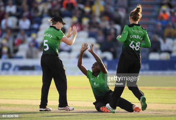 Stafanie Taylor of Western Storm celebrates a wicket of Hayley Matthews of Southern Vipers with teammates during the Women's Kia Super League Final...