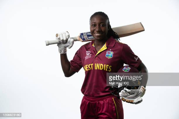 Stafanie Taylor poses during the West Indies 2020 ICC Women's T20 World Cup headshots session at Allan Border Field on February 16, 2020 in Brisbane,...