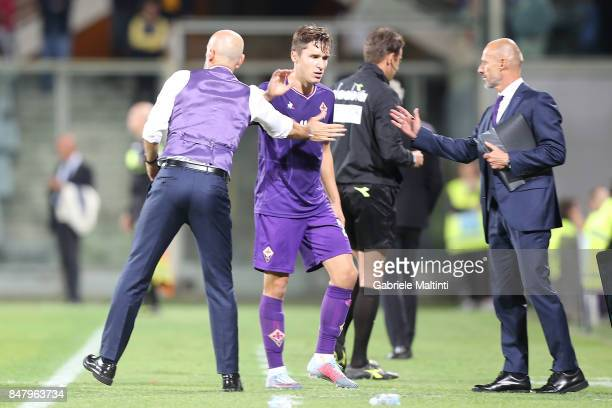 Stafano Pioli manager of ACF Fiorentina and Federico Chiesa during the Serie A match between ACF Fiorentina and Bologna FC at Stadio Artemio Franchi...