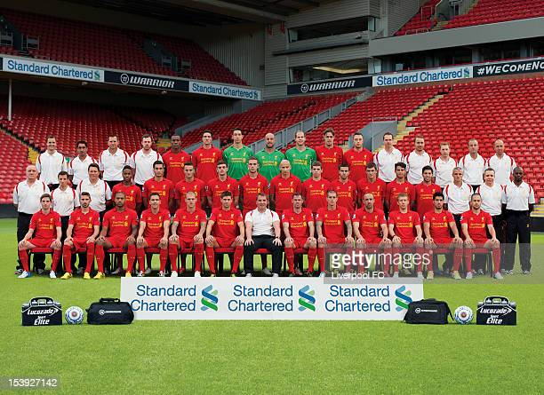 Staff and members of the Liverpool Football Club squad pose for a team photograph during the the 20122013 Official Liverpool FC team photograph...