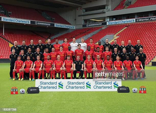 Staff and members of the Liverpool Football Club squad pose for a team photograph during the the 20132014 Official Liverpool FC team photograph...