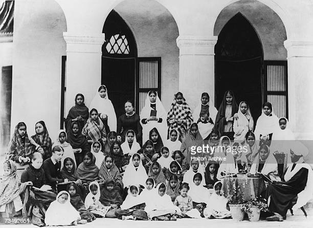 Staff and pupils at a Christian boarding school in Lahore India circa 1879