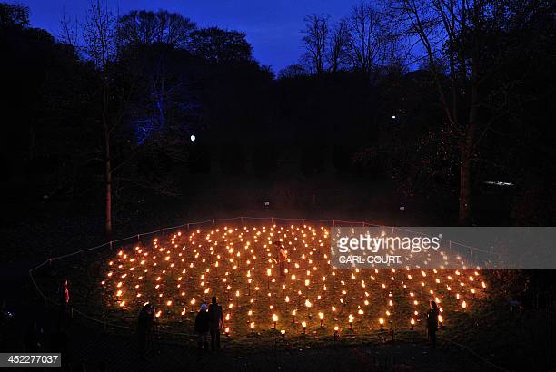 Staff and visitors view a fire mandala display during a preview for the Christmas at Kew event at Kew Gardens in south west London on November 27...
