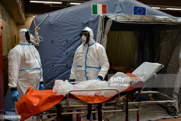 Staff assigned for Coronavirus tests at the Molinette hospital. Italy is at the third place in the world ranking as infected countries, after China...