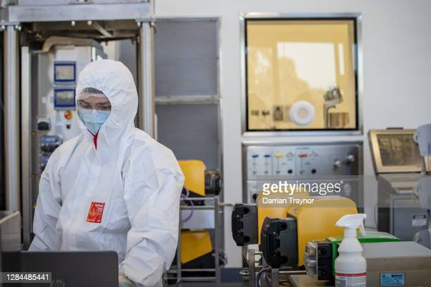 Staff at CSL are seen working in the lab on November 08, 2020 in Melbourne, Australia. CSL will begin manufacturing AstraZeneca-Oxford University...