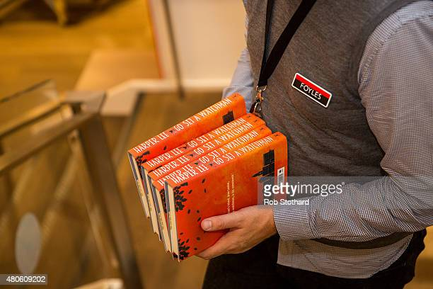Staff at Foyles book shop prepare to sell copies of 'Go Set A Watchman' by Harper Lee available shortly after midnight on July 13 2015 in London...