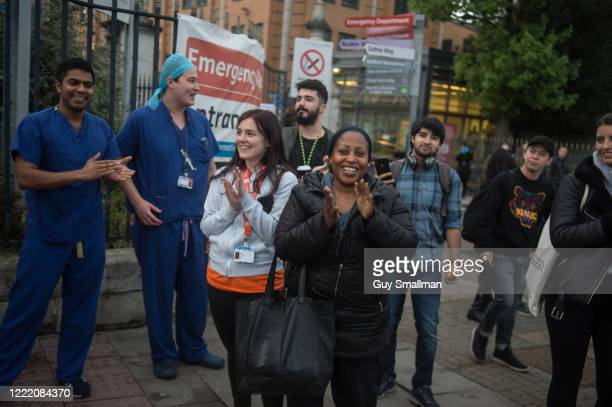 Staff at King's College Hospital join members of the public in applauding key workers during the weekly Thursday night 8pm clapping on April 29 2020...