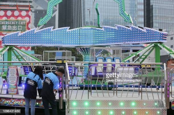 Staff at the AIA Great European Carnival having nothing to do as rides are still pending approval from the government in Central 15DEC16 SCMP / May...