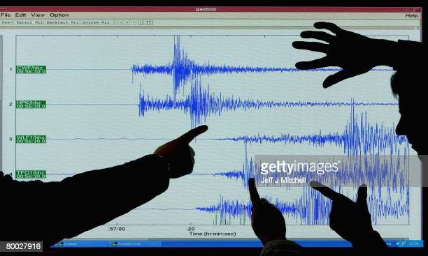 Staff at the British Geological Survey, in Edinburgh look at the graph showing the earthquake which occurred at Market Rasen in North East...