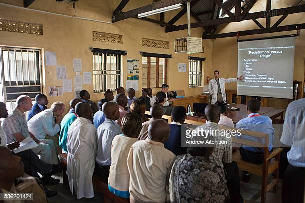 Staff at the Bwindi Community Hospital receive training from Dr Dan del Porto a visiting doctor from the United States of America The hospital is in...