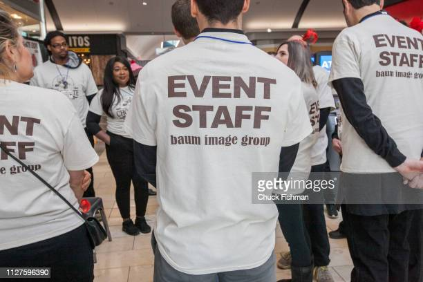 Staff at The Chocolate Expo gather during a huddle at Garden State Plaza Mall Paramus New Jersey January 2019