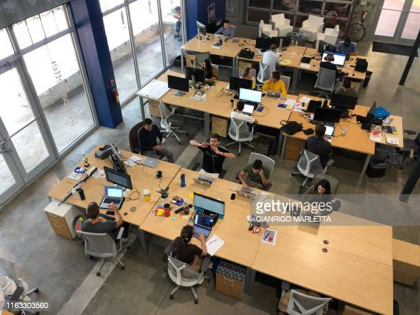 Staff at work in the Boatsetter office, a South Florida based boat-renting tech company on August 7, 2019 in Fort Lauderdale, Florida. -...