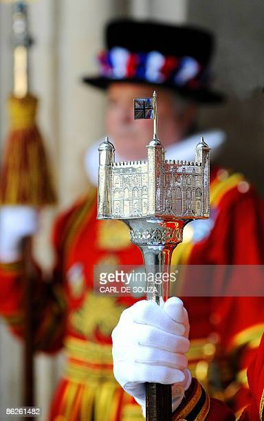A staff belonging to a Yeoman Warder is pictured at Westminster Abbey in London on April 28 2009 Britain's Queen Elizabeth II on Tuesday attended a...