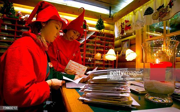 Staff dressed as elves sort through letters addressed to Santa Claus at the Santa Claus Main Post Office in Santa Claus' Village on November 27 2006...