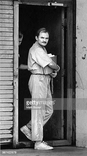 1983 staff file photo of Randy Kraft leaving Orange County Courthouse after pleading not guilty to six counts of murder