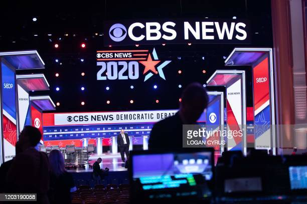 Staff from CBS News make final preparations on the Democratic National Committee Debate stage in Charleston South Carolina on February 25 2020...