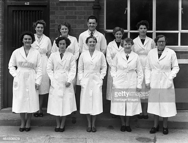Staff from Schonhut's butchery factory Rawmarsh South Yorkshire 1955 Mr George Schonhut the owner was the grandson of the founder who relocated from...