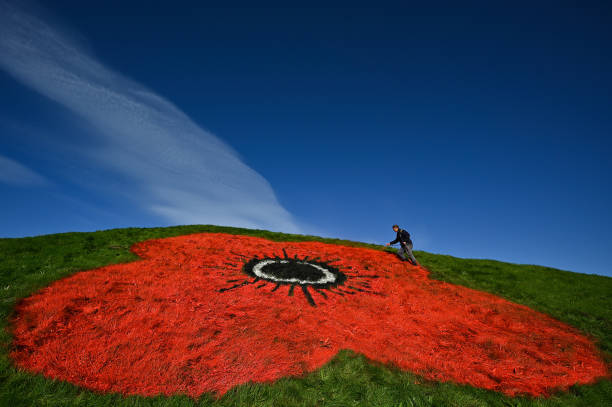 GBR: Poppy Painted On Bathgate Pyramids Ahead Of Remembrance Day