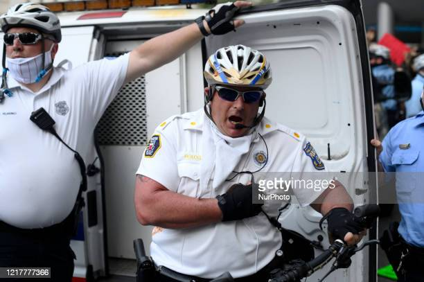 Staff Inspector Joseph Bologna Jr relays and order to disperse a small crowd during a protest in Center City Philadelphia on May 30 2020 After videos...