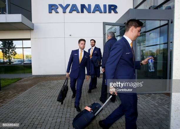 Staff leave Ryanair headquarters at Airside Business Park in Dublin on September 21 2017 Ryanair chief executive Michael O'Leary on September 21 said...