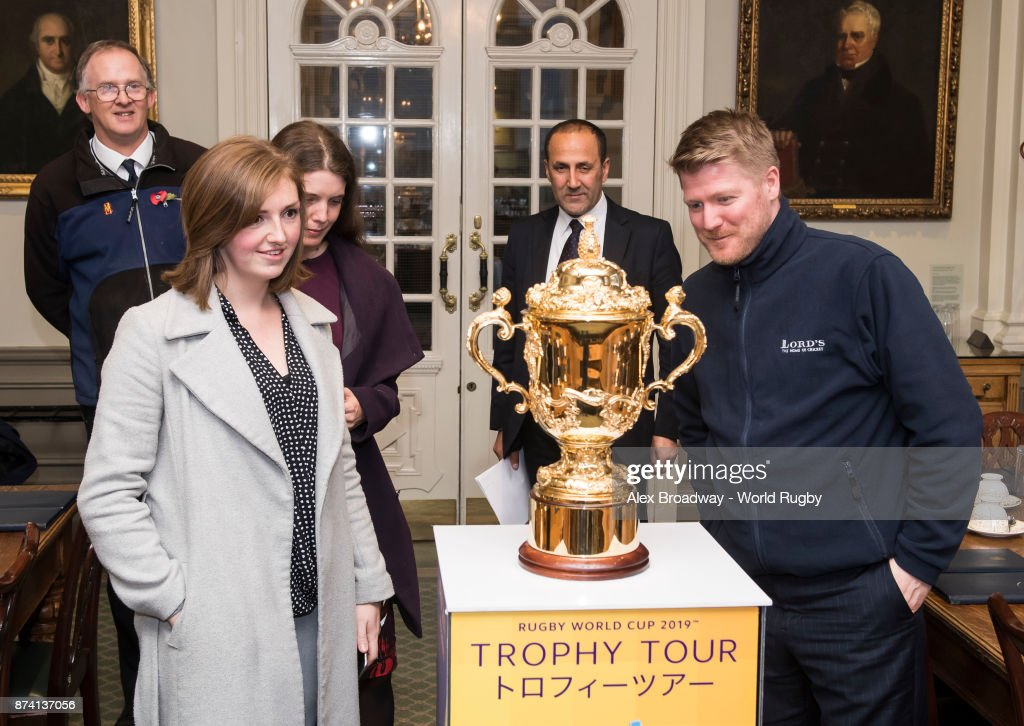 MCC Staff look at The Webb Ellis Cup during the Rugby World Cup 2019 Trophy Tour at Lords on November 14, 2017 in London, England.