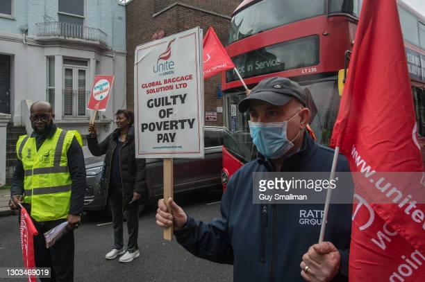 Staff man the picket line at Shepherd's Bush depot, as bus drivers go on strike over pay and conditions imposed by their employer RATP on February...