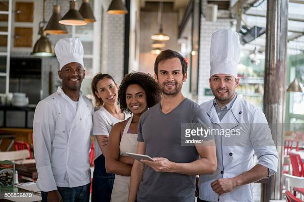 staff meeting at a restaurant - wait staff stock pictures, royalty-free photos & images