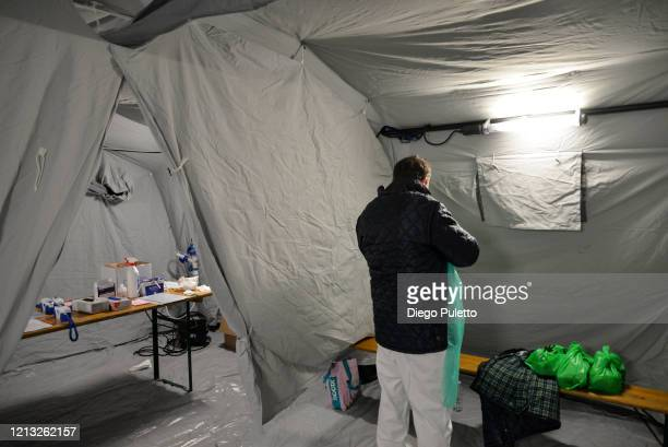 Staff member assigned for Coronavirus tests at the Molinette hospital during the nationwide lockdown to control COVID19 spread on March 17 2020 in...