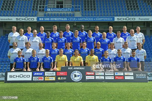 Staff member Rainer Schonz of DSC Arminia Bielefeld poses during the team presentation at Scueco Arena on July 19 2018 in Bielefeld Germany