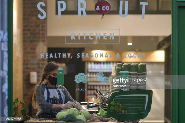 Staff member of of Sprout and Co restaurant in Dublin preparing a dish. On Thursday, January 7 in Dublin, Ireland.