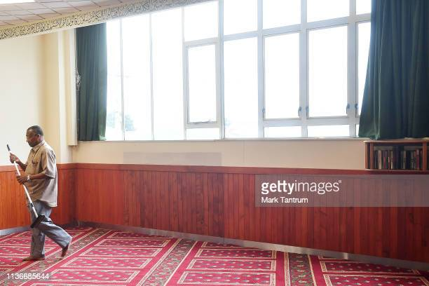 Staff member opens up the Kilbirnie Mosque on March 19, 2019 in Wellington, New Zealand. 50 people were killed, and dozens are still injured in...