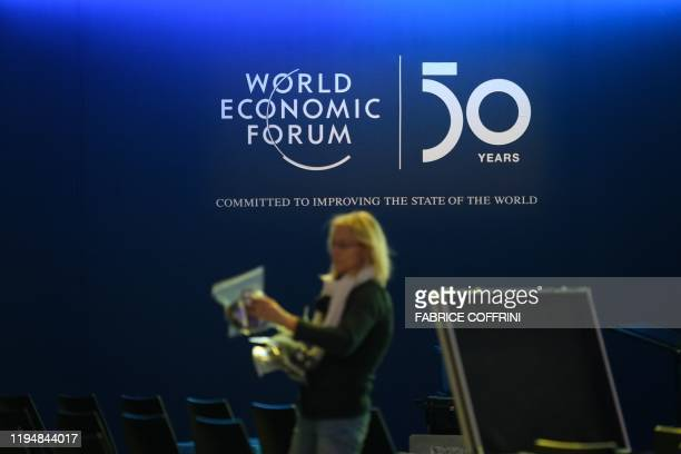 A staff member prepares translators in the Congress center ahead of the annual meeting of the World Economic Forum on January 20 2020 in Davos
