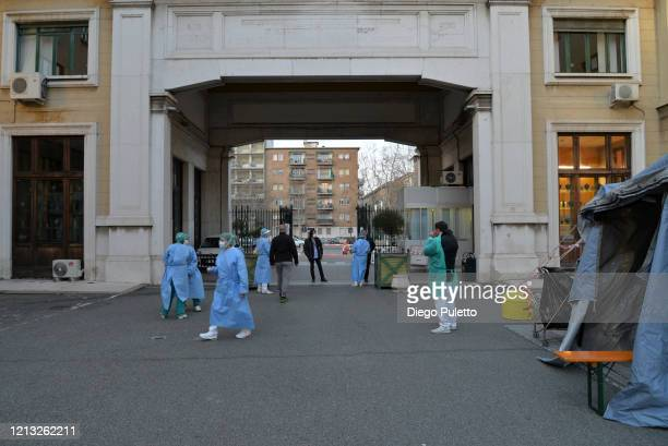 Staff members assigned for Coronavirus tests at the Molinette hospital during the nationwide lockdown to control COVID19 spread on March 17 2020 in...