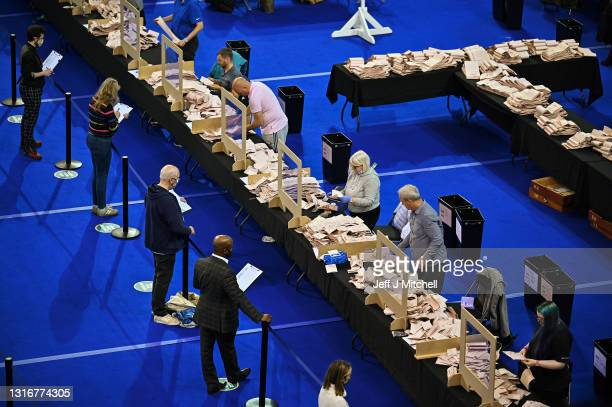 Staff members count ballots at the main Glasgow counting centre in the Emirates Arena on May 06, 2021 in Glasgow, Scotland. All 129 Members of the...