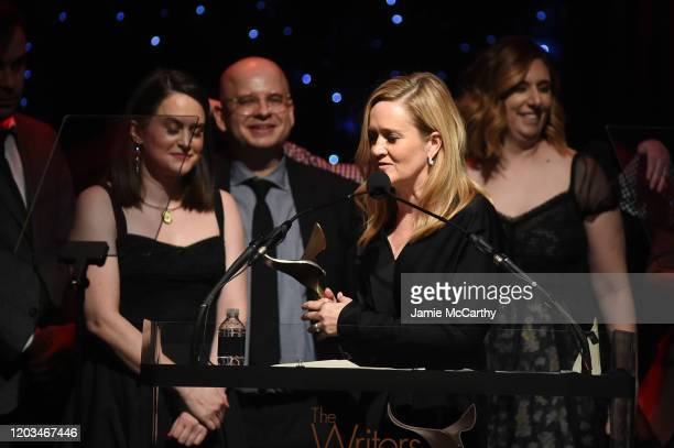 Staff members from Full Frontal with Samantha Bee accept an award onstage during the 72nd Writers Guild Awards at Edison Ballroom on February 01 2020...