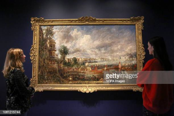 Staff members seen viewing a painting by John Constable The Royal Academy Schools most illustrious graduates exhibits Helvoetsluys 1832 by JMW Turner...