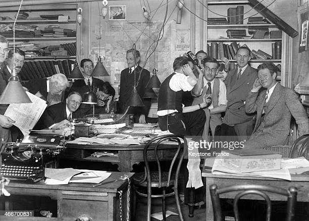 Staff of newspaper 'Le Soir' in 1928 in Paris France