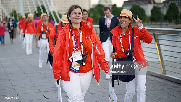 Staff of Olympic provider EDF Energy are seen on Day 2 of the London 2012 Olympic Games on July 29 2012 in London England