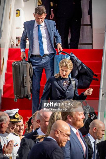 Staff of the Dutch King and Queen arrive at the airport on March 9 2020 in Jakarta Indonesia The Dutch King and Queen are in Indonesia for an four...