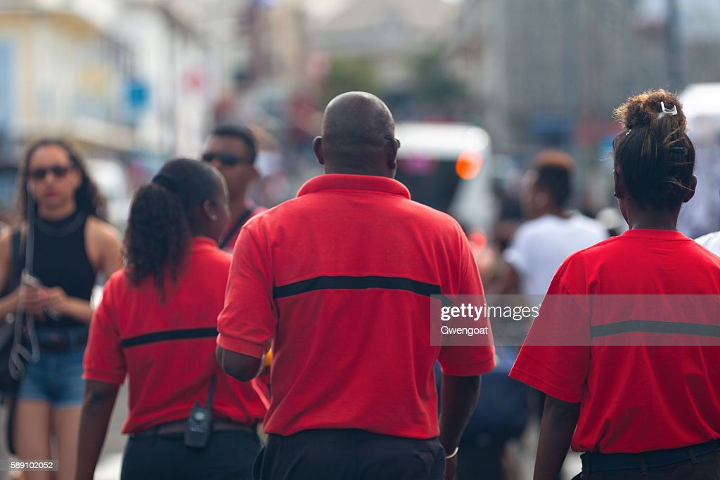 Staff of the Sécurité Incendie in action : Stock Photo