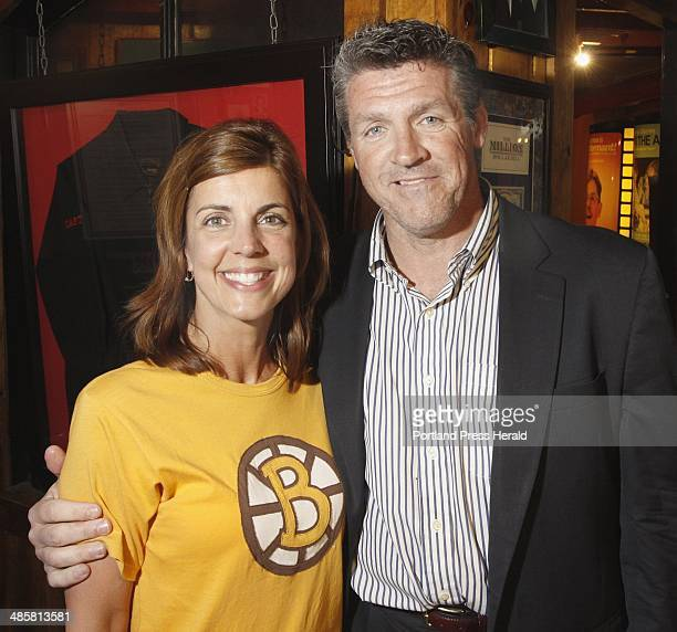 From left Julie Fournier of Scarborough with former Boston Bruin and Maine Mariner Andy Brickley