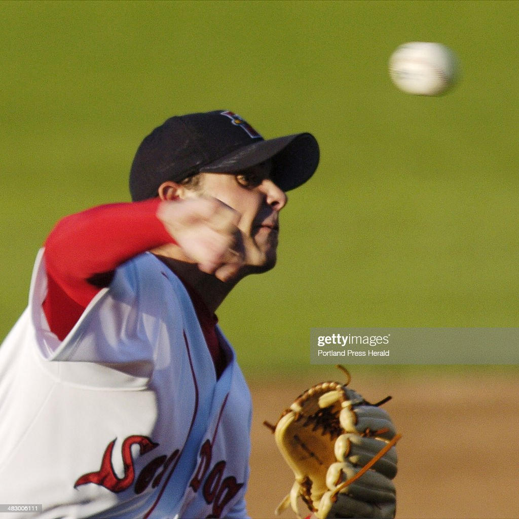 Portland Sea dog pitcher, #30, David Pauley throws a curve in first inning action against Trenton at... : News Photo