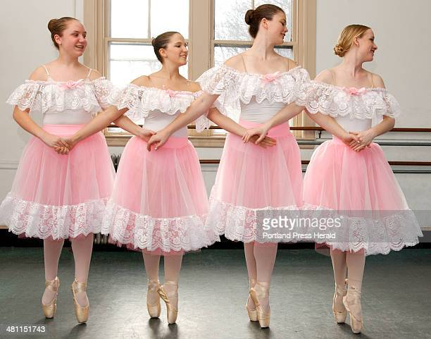 Sarah Welch Danielle Cyr Joanna Futral and Elizabeth Damon members of the Senior Corps at Dance Studio of Maine rehearse for their next performance...