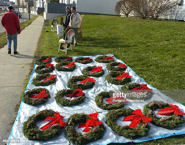 Staff Photo by Gordon Chibroski Sunday November 20 2005 Business partners Able Britton and Jaime Puleo made about 4o quality holiday wreaths and laid...