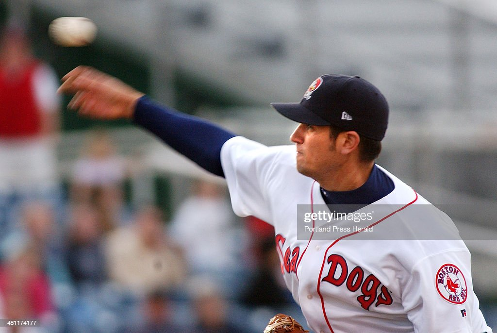 Sea Dogs pitcher, Tim Kester, fires his great curve ball in early inning AA baseball action against ... : News Photo