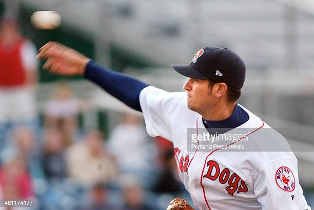 Staff Photo by Gordon Chibroski Tuesday April 29 2003 Sea Dogs pitcher Tim Kester fires his great curve ball in early inning AA baseball action...