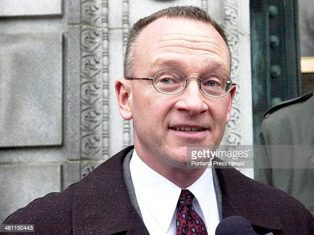 Staff Photo by Gordon Chibroski Tuesday December 18 2001 Matt Stewart tells the press little about the investigation but seems happy that Jeffrey...