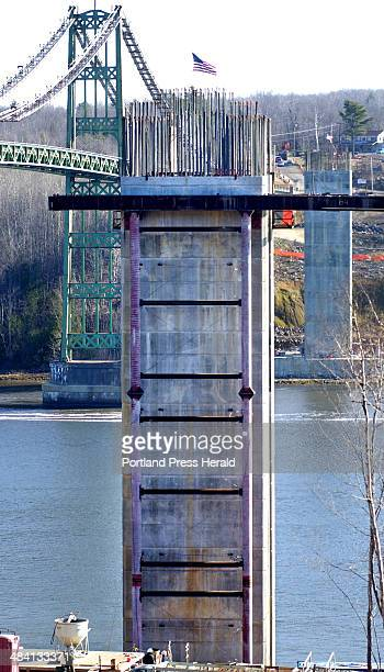 Staff Photo by Gordon Chibroski Tuesday November 16 2004 The lower pylon is 124 foot high above the Penobscot River and will hold the superstructure...